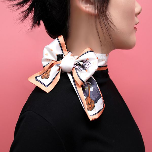 New Small Scarf Tied Bags Ribbon Printed Scarves Multifunctional Fashion Four Seasons Bow Ribbon wholesale NHXB218456