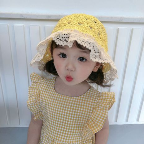 Lace edge dome hand hook straw hat baby windproof belt foldable sun hat children outdoor straw sun hat nihaojewelry wholesale NHTQ218461's discount tags