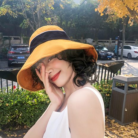 Fisherman hat female Korean summer thin color matching letters sunscreen shade big eaves cover face Japanese fashion hat NHTQ218471's discount tags