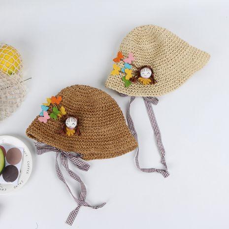Girls straw hat children fisherman hat baby breathable beach hat thin section boy sunscreen sun hat sun hat summer NHTQ218472's discount tags