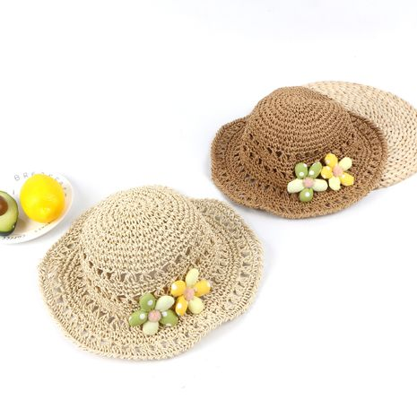 Summer new children's flowers parent-child hand hook straw hat girl shade sunscreen hat beach ladies hat wholesale NHTQ218476's discount tags