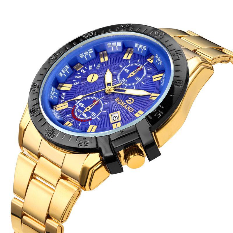 Explosion men's three-eye steel belt watch fashion large dial quartz gold steel belt watch men's and men's single calendar watch NHSS218490