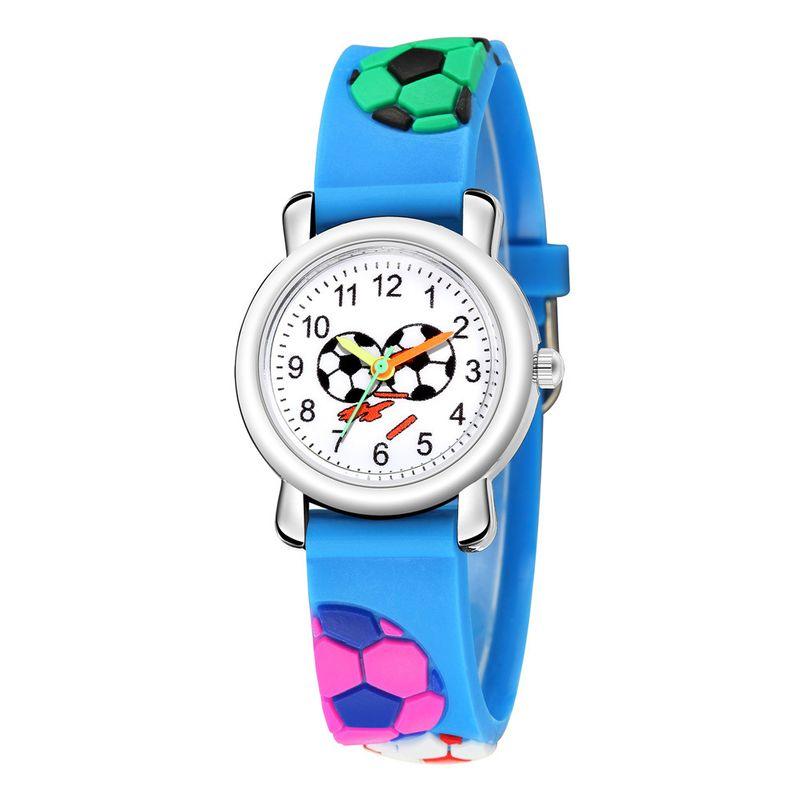Children's cartoon football watch 3D embossed football plastic band student sports watch cute pupil watch NHSS218516