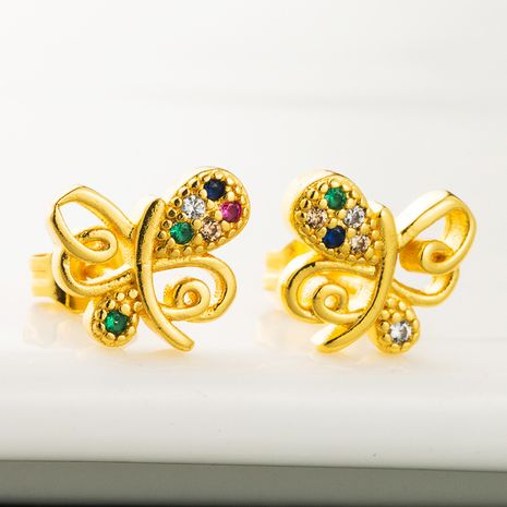 Brass inlaid color zircon niche earrings hollow butterfly plated 18K gold earrings wholesale  NHLN218633's discount tags