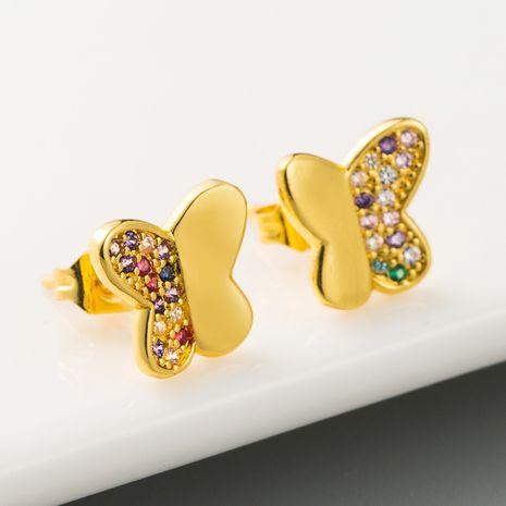 explosion models creative butterfly earrings copper plated 18K gold micro-set zircon personality earrings  wholesale nihaojewelry NHLN218635's discount tags