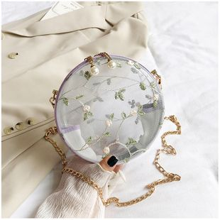 Summer small fresh wild ins small bag female  simple  new texture  fashion slung chain small round bag  wholesale NHTC218648's discount tags