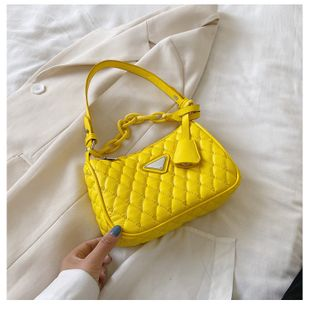 fashion new trendy wild diamond chain shoulder bag solid color embroidery thread armpit bag nihaojewelry wholesale NHTC218661's discount tags