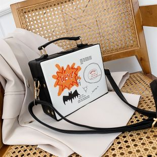fashion simple  new wave wild lock single shoulder messenger bag  foreign fashion printing texture portable box bag nihaojewelry wholesale NHPB218707's discount tags