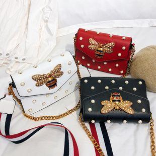 new fashion hot selling  wild bee chain handbag female tide rivet simple wide shoulder single shoulder messenger small square bag wholesale NHPB218716's discount tags
