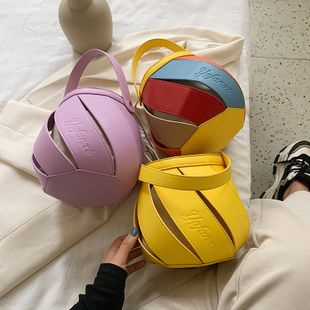 new Korean simple  retro round hollow stitching pumping portable bucket bag female fashion shoulder messenger bag nihaojewelry wholesale NHPB218733's discount tags