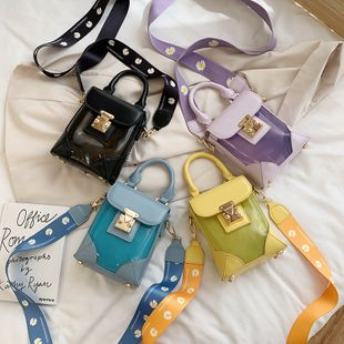 new fashion wild transparent jelly mobile phone bag female personality lock wide shoulder strap shoulder messenger bag nihaojewelry wholesale NHPB218765's discount tags