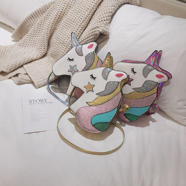 new fashion cute  personality girl laser shoulder bag female wild cartoon cute hit color unicorn crossbody bag nihaojewelry wholesale NHPB218771