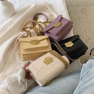 new  fashion  casual crocodile pattern multi-layer shoulder bag female  air lock chain crossbody small square bag nihaojewelry wholesale NHPB218780's discount tags