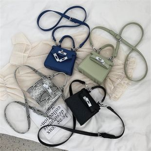 Korean fashion new  wild solid color lock mini handbag shoulder bag nihaojewelry wholesale NHPB218787's discount tags