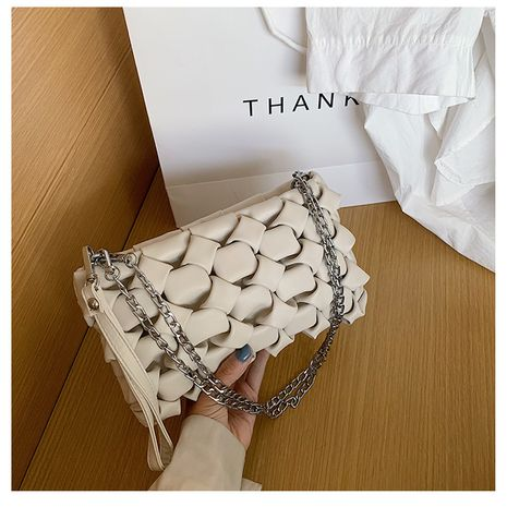 Senior sense small bag female  new wave wild texture shoulder bag woven chain crossbody bag wholesale NHTC218807's discount tags