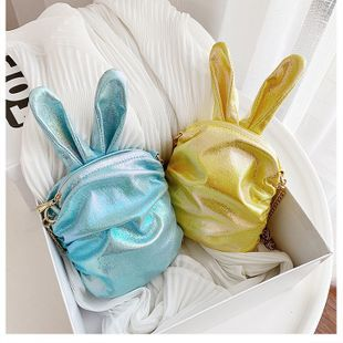 Korean  new trendy  cute cartoon laser colorful girl cute funny rabbit ears pu chain small shoulder bag mobile phone bag nihaojewelry wholesale NHHX218850's discount tags