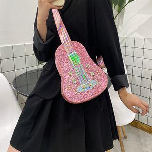 Korean fashion new small fresh personality laser sequins diamonds dream violin guitar shape small shoulder bag nihaojewelry wholesale NHHX218851's discount tags