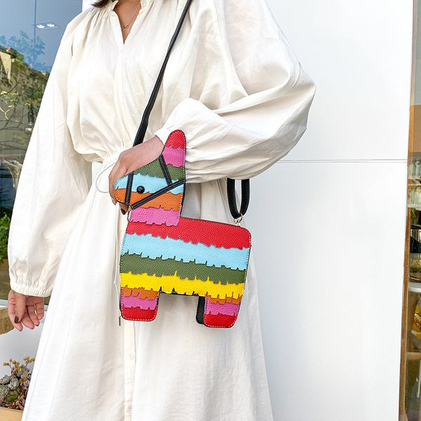 hot selling fashion new creative hit color cute cartoon rainbow color stitching pu pony crossbody bag shoulder bag nihaojewelry wholesale NHHX218852