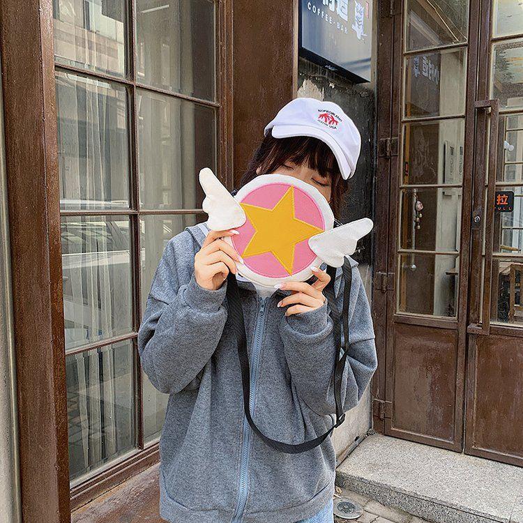 Japanese fashion new   cute cartoon magic Sakura canvas shoulder bag girl cute funny purse  wholesale  NHHX218856