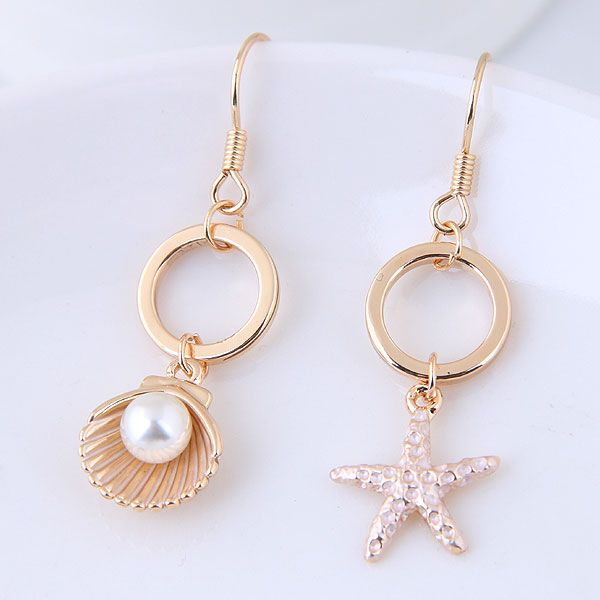 Boutique Korean fashion sweet sea shell starfish wild asymmetric personality temperament earrings wholesale nihaojewelry NHSC219058