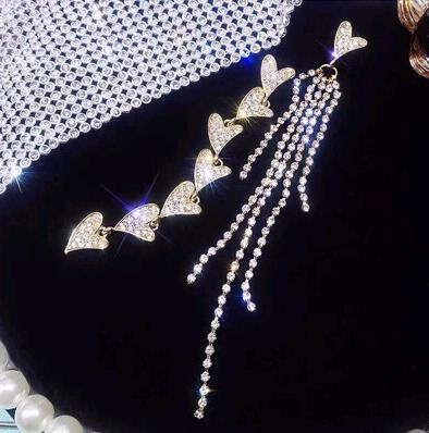 fashion metal flash diamond love tassel exaggerated asymmetric temperament earrings wholesale nihaojewelry NHSC219054