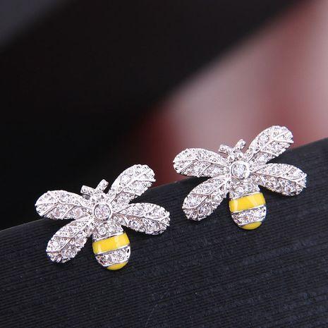 Exquisite Korean fashion women's earrings copper micro inlay zircon bee temperament earrings wholesale nihaojewelry NHSC219045's discount tags