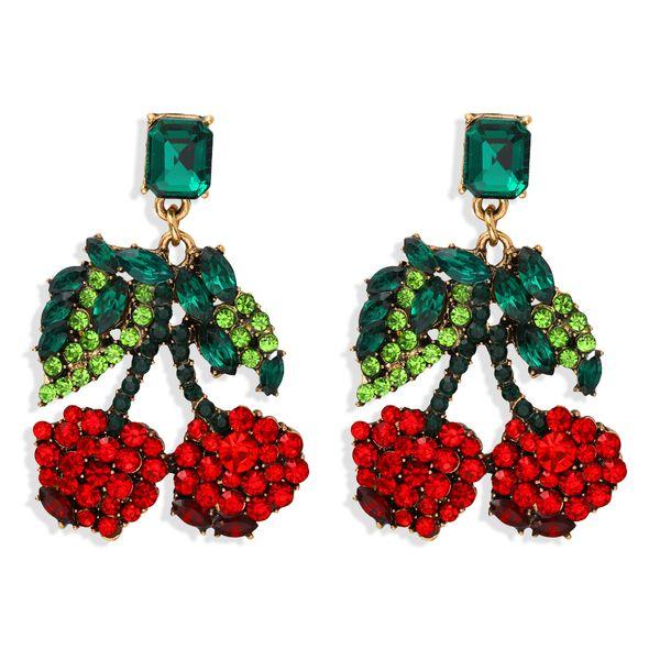 Creative fashion cherry shape full diamond earrings exaggerated acrylic diamond earrings niche design accessories wholesale nihaojewelry  NHJQ218862