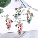 cute full diamond peacock tail personality fashion irregularity is round earrings exaggerated street shot super flash earrings wholesale nihaojewelry  NHJQ218863