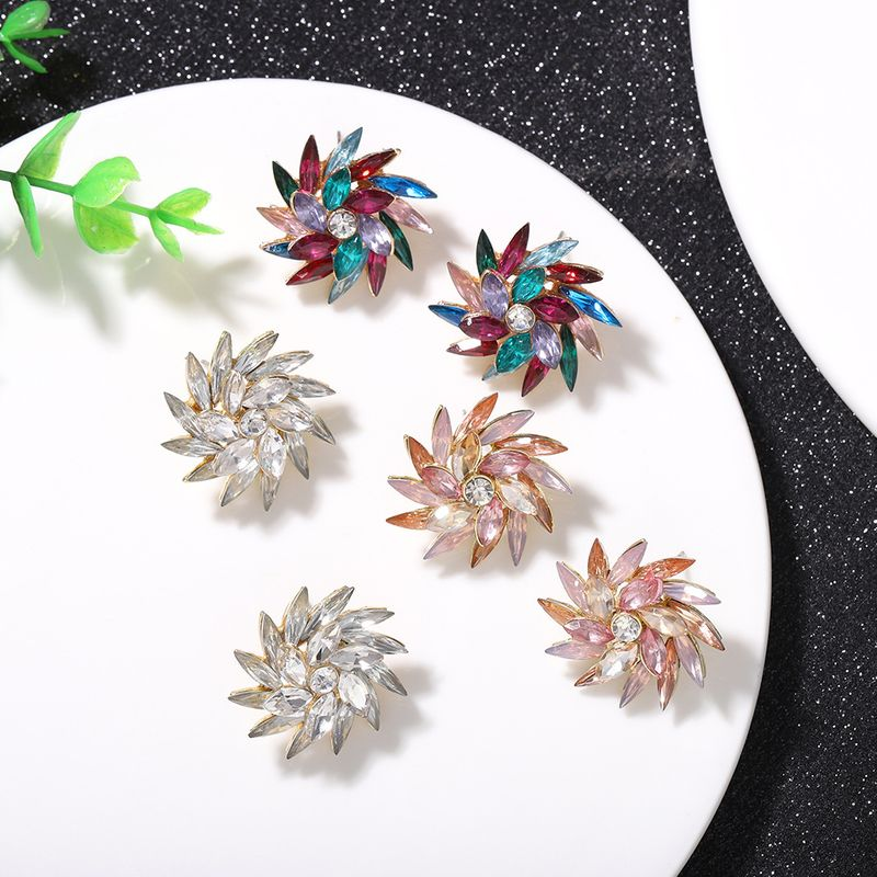 wild exaggerated windmill style earrings full of diamonds creative fashion super flash acrylic earrings catwalk jewelry wholesale nihaojewelry  NHJQ218867
