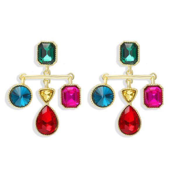 fashion geometric acrylic diamond earrings balance scales simple personality full diamond wild ear jewelry wholesale nihaojewelry  NHJQ218868