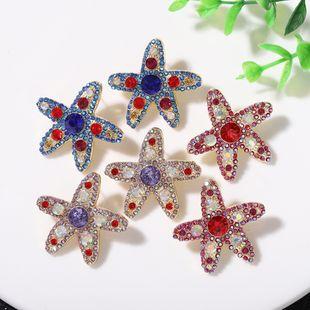 Pendientes salvajes de diamantes de color de estrella de mar personalizados de moda súper flash de cinco puntas en forma de estrella lindos pendientes de temperamento japonés y coreano al por mayor NHJQ218870's discount tags