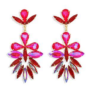 Diamante de color de hoja de moda exagerado de lujo estrella de temperamento de moda diamante salvaje aretes de diamantes llenos de mano al por mayor nihaojewelry NHJQ218871's discount tags