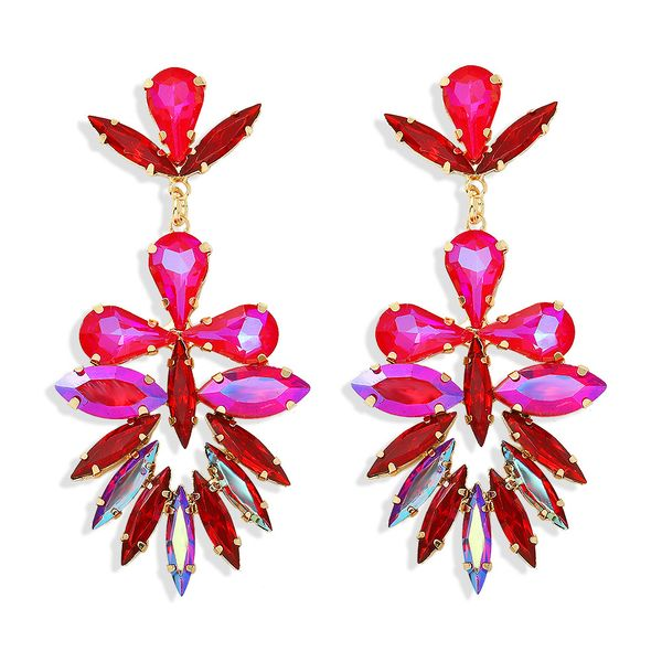 fashion leaf colored diamond exaggerated luxury trendy temperament star wild hand-clamped diamond full diamond earrings wholesale nihaojewelry  NHJQ218871