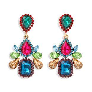 fashion water drop square diamond earrings luxury wild super flash full diamond earrings star catwalk jewelry wholesale nihaojewelry  NHJQ218875's discount tags