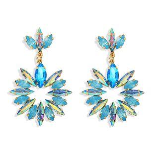 Pendientes de diamantes de color de flores de venta caliente, diseño fresco, disparos callejeros, pendientes de lujo de moda al por mayor nihaojewelry NHJQ218876's discount tags