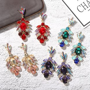 creative fashion water drop oval color diamond trendy popularity street shot luxury full diamond handmade clip drill earrings wholesale nihaojewelry  NHJQ218879's discount tags