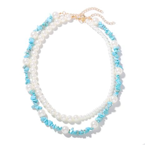 double-layer pearl stone trendy temperament necklace street shooting fashion dual-use crushed stone necklace wholesale nihaojewelry NHJQ218880's discount tags