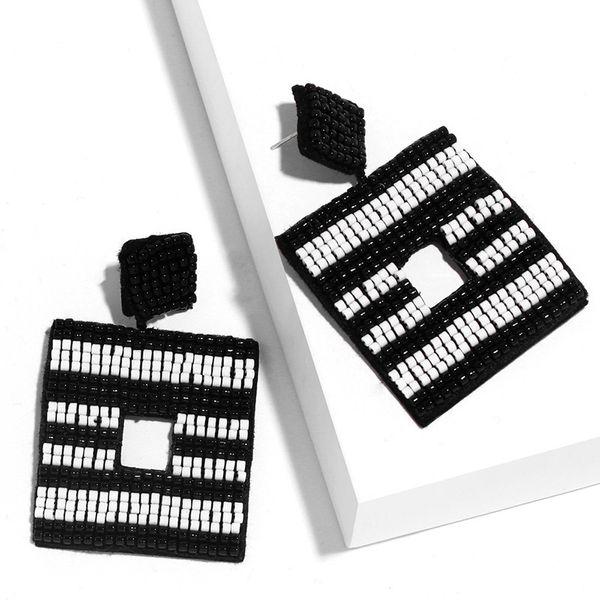 Bohemian Earrings Square Striped Earrings Handmade Rice Bead Earrings wholesale nihaojewelry NHAS218883