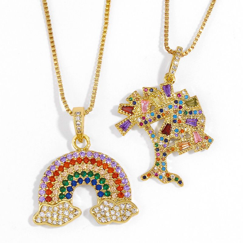fashion necklace new accessories white cloud rainbow pendant necklace simple wholesale nihaojewelry NHAS218891