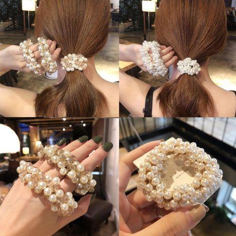 Corée du Sud tissé à la main perle cristal cheveux corde coiffe haute élastique cheveux anneau boule tête en caoutchouc bande de cheveux ornement tête ropewholesale nihaojewelry NHAS218895's discount tags