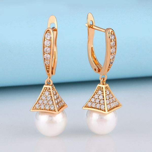 Korea simple and fashion pearl earrings wild temperament zircon earrings wholesale nihaojewelry NHAS218896