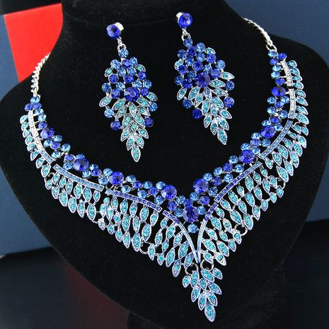 fashion metal bright luxury angel wings bride accessories temperament exaggerated bride necklace earrings set NHSC219217's discount tags