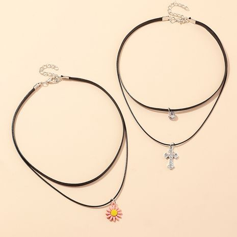 fashion jewelry double Harajuku fashion clavicle chain cross small daisy necklace wholesale nihaojewelry NHNZ218899's discount tags