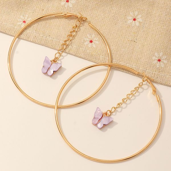 new hot-selling butterfly jewelry original multicolor acrylic butterfly earrings wild geometric round earrings wholesale nihaojewelry NHNZ218906
