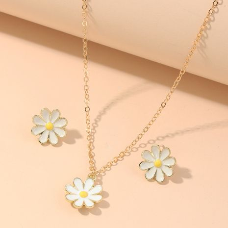 fashion jewelry cute and sweet dripping flower necklace wild small daisy earring set wholesale nihaojewelry NHNZ218918's discount tags