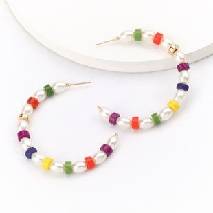 fashion simple style  C-shaped beaded wood imitation pearl earrings nihaojewelry wholesale NHJE218927's discount tags