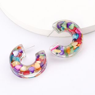 fashion stunning C-shaped cylindrical acetate plate earrings fashion  trend earrings wholesale nihaojewelry  NHJE218929's discount tags