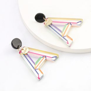 exaggerated color stripes acetate plate letters S925 silver needle earrings female trend earrings wholesale nihaojewelry  NHJE218930's discount tags
