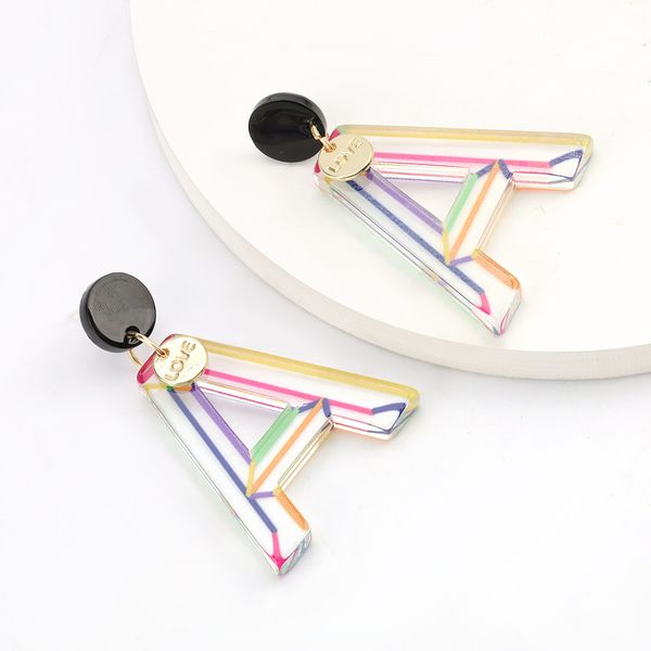 exaggerated color stripes acetate plate letters S925 silver needle earrings female trend earrings wholesale nihaojewelry  NHJE218930