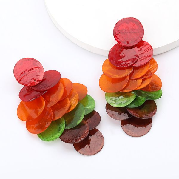 hot personality multi-layer round resin sheet exaggerated earrings female trend national earrings wholesale nihaojewelry  NHJE218931